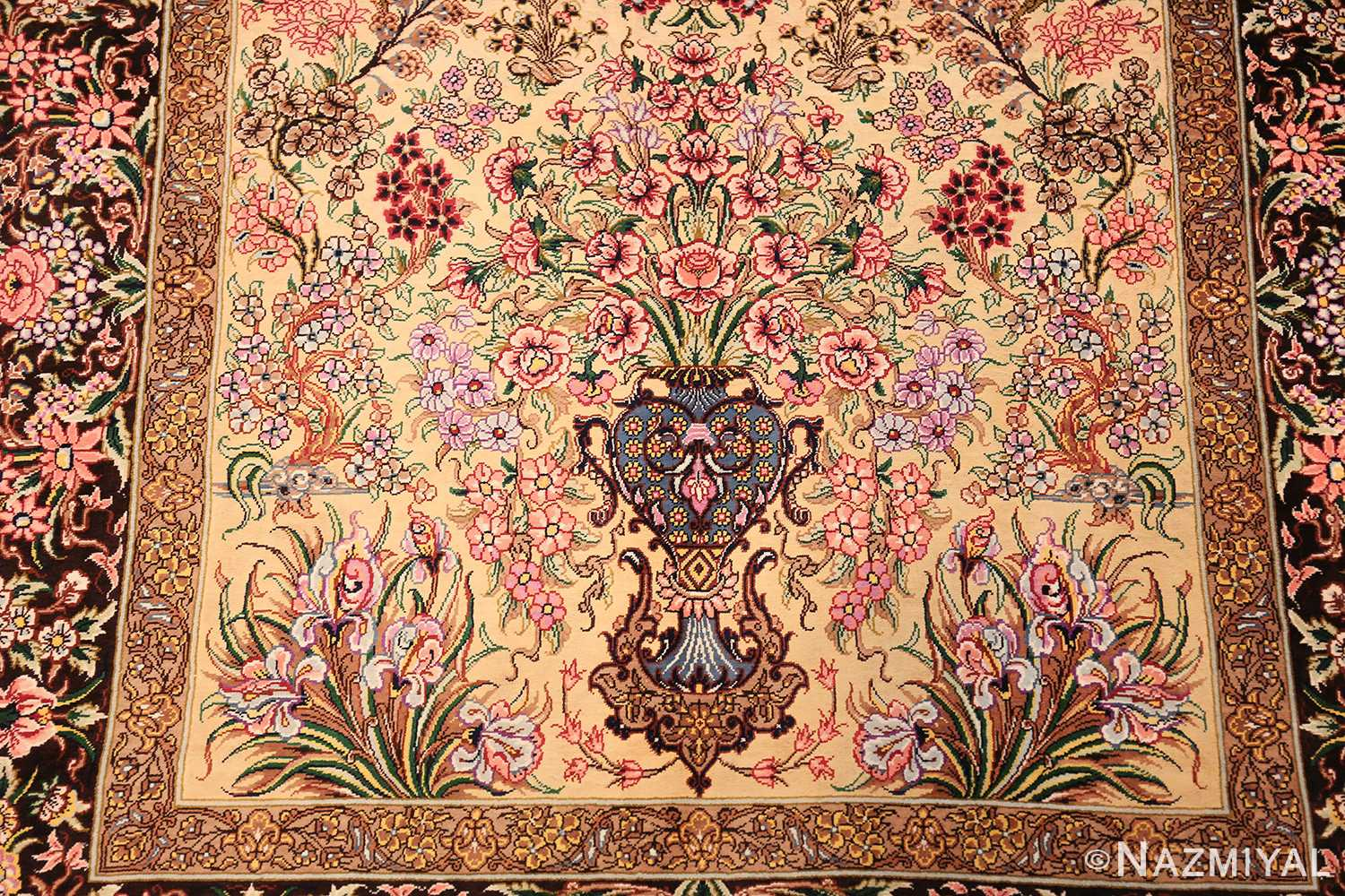 modern persian silk small scatter size qum rug 49405 vase Nazmiyal