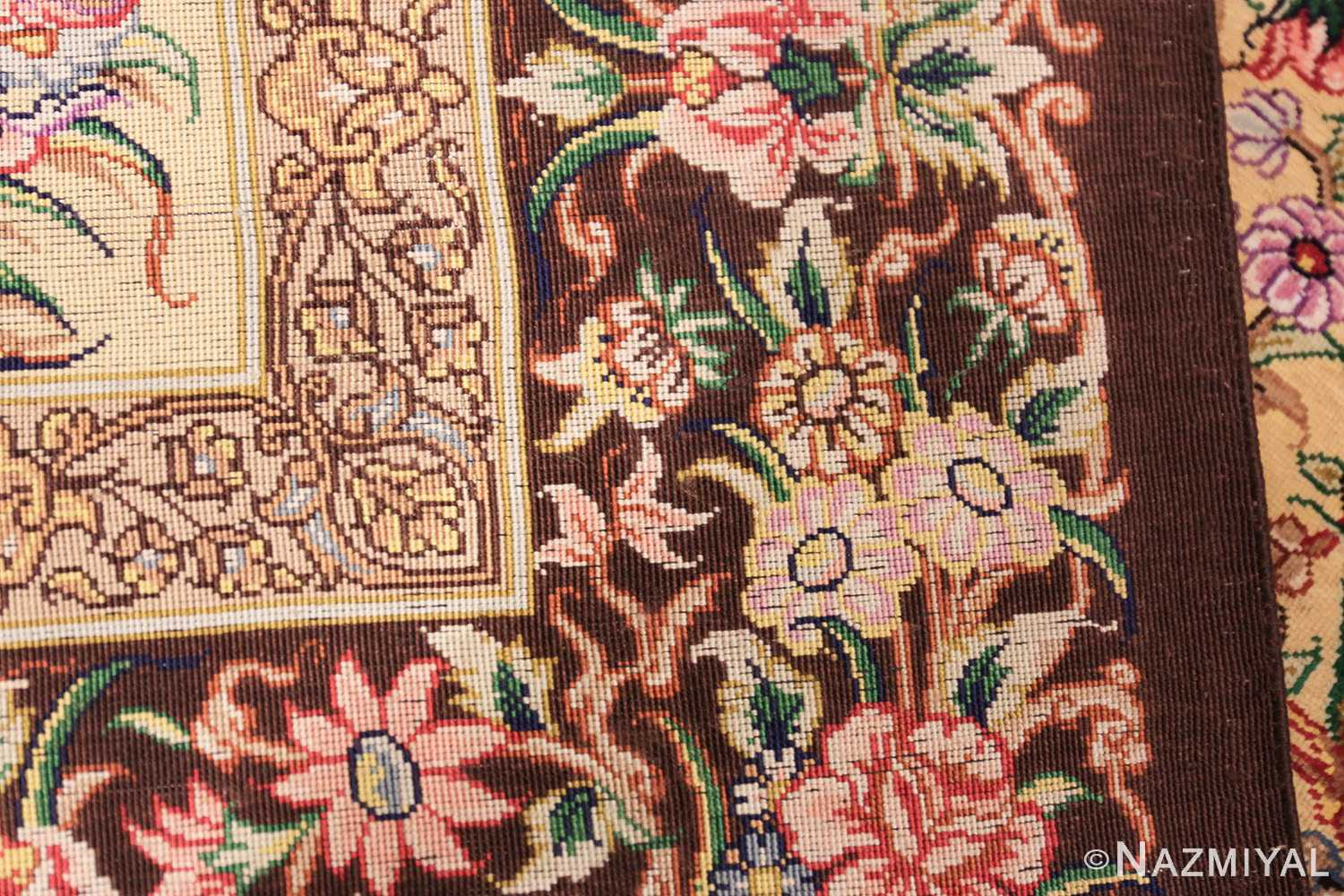 modern persian silk small scatter size qum rug 49405 weave Nazmiyal