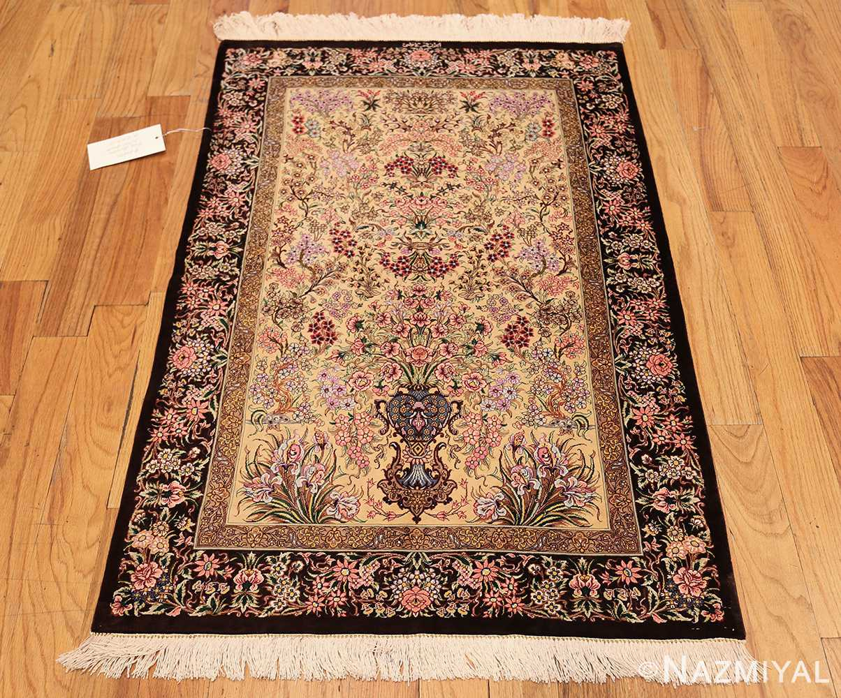 modern persian silk small scatter size qum rug 49405 whole Nazmiyal