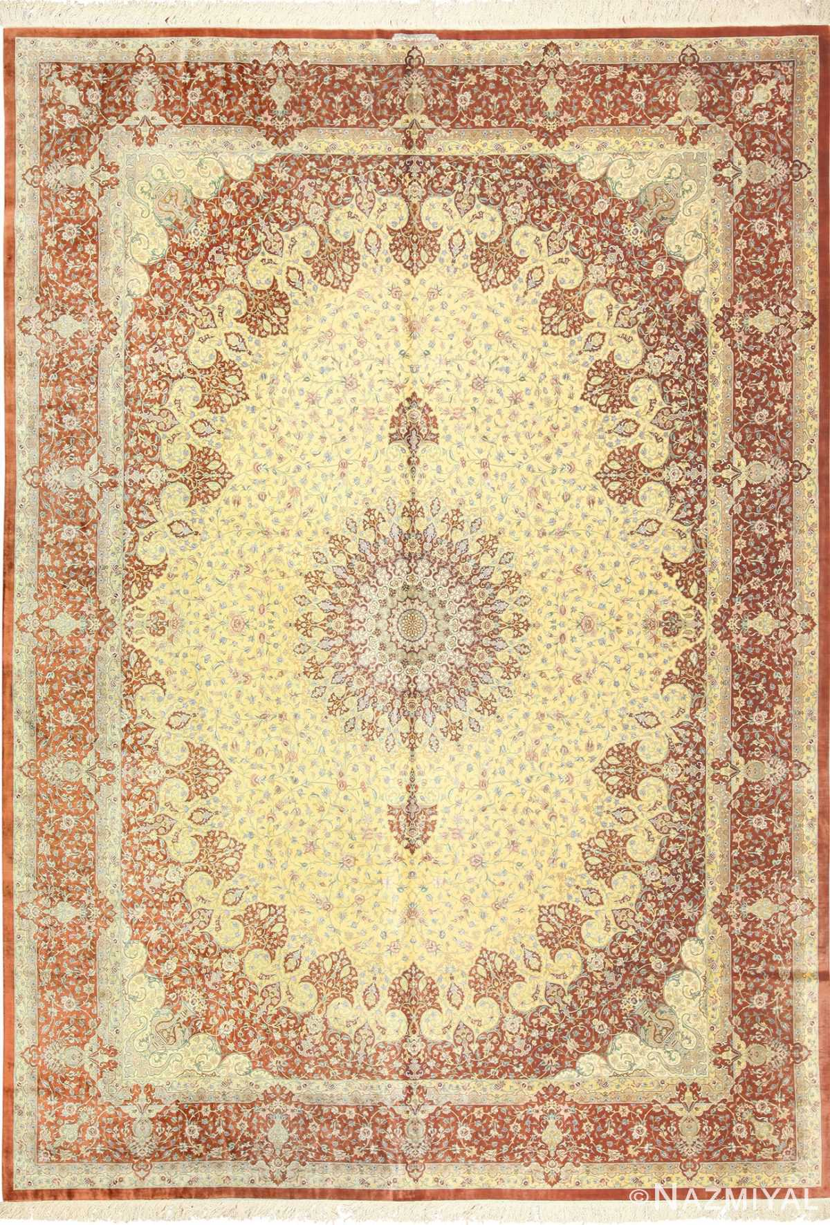 modern yellow background silk qum persian rug 49398 Nazmiyal