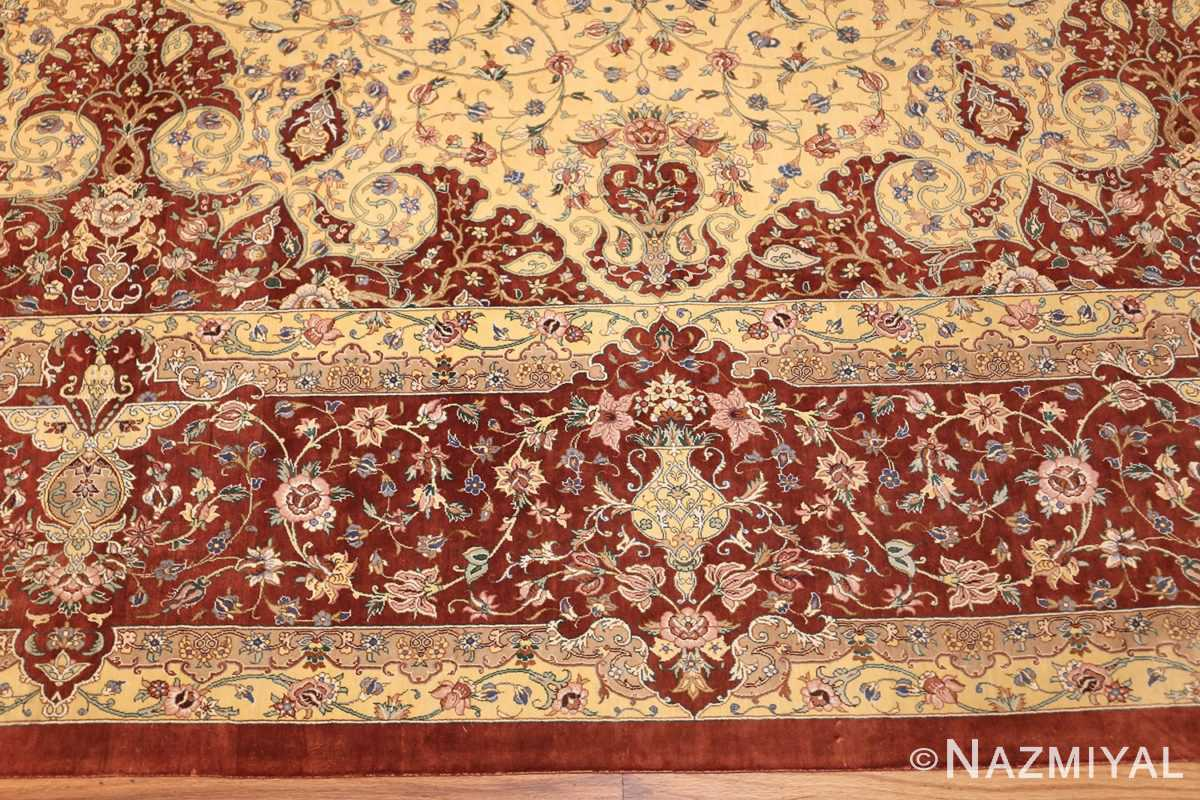 modern yellow background silk qum persian rug 49398 border Nazmiyal