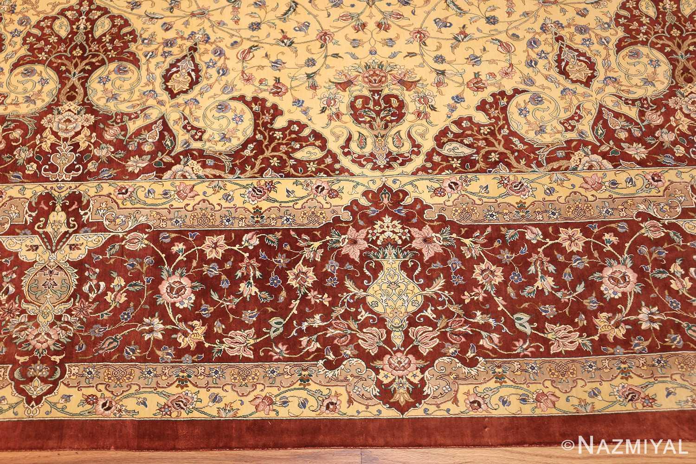 modern yellow background silk qum persian rug 49398 border Nazmiyal