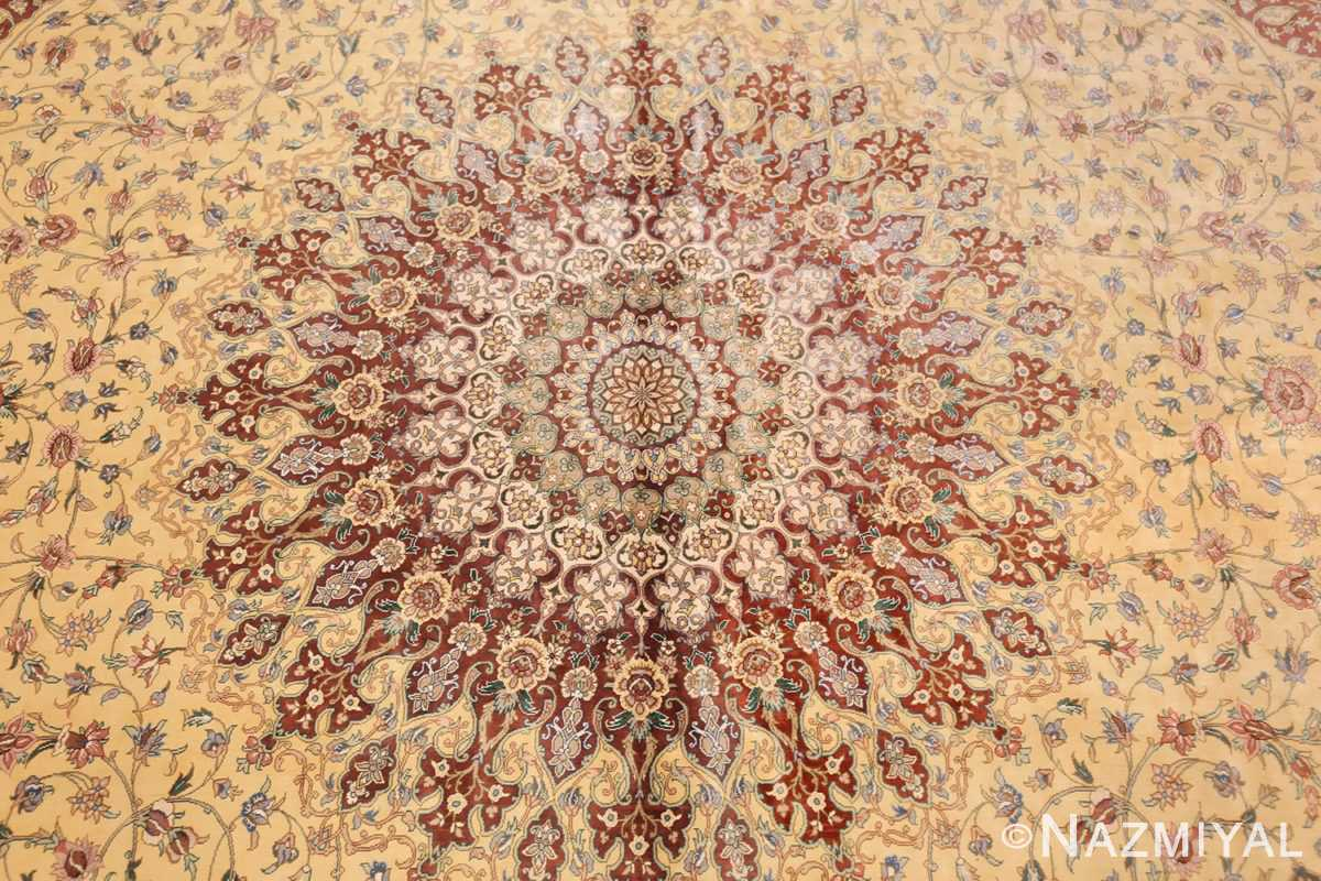 modern yellow background silk qum persian rug 49398 medallion Nazmiyal