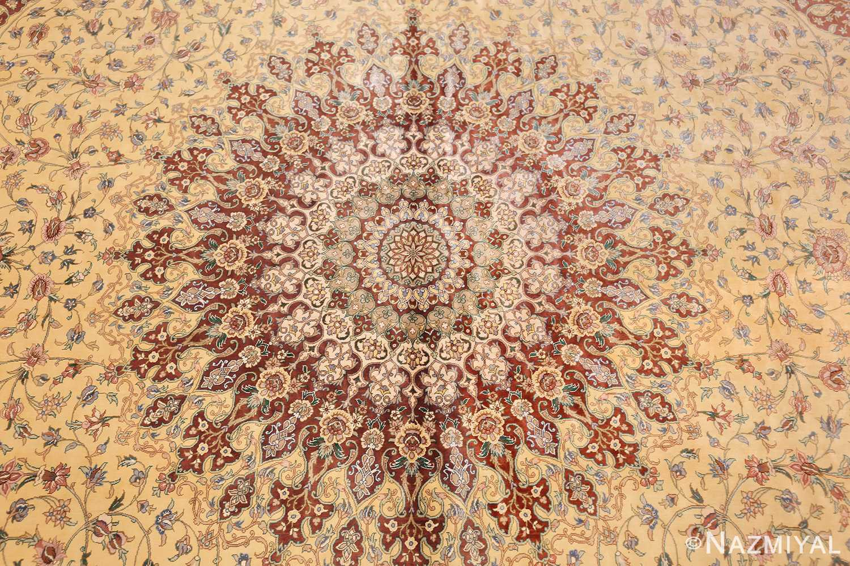 modern yellow background silk qum persian rug 49398 medallion Nazmiyal