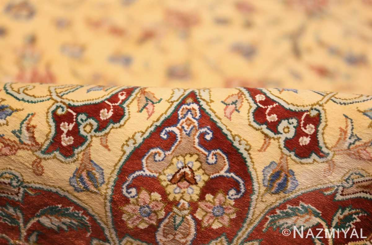 modern yellow background silk qum persian rug 49398 pile Nazmiyal
