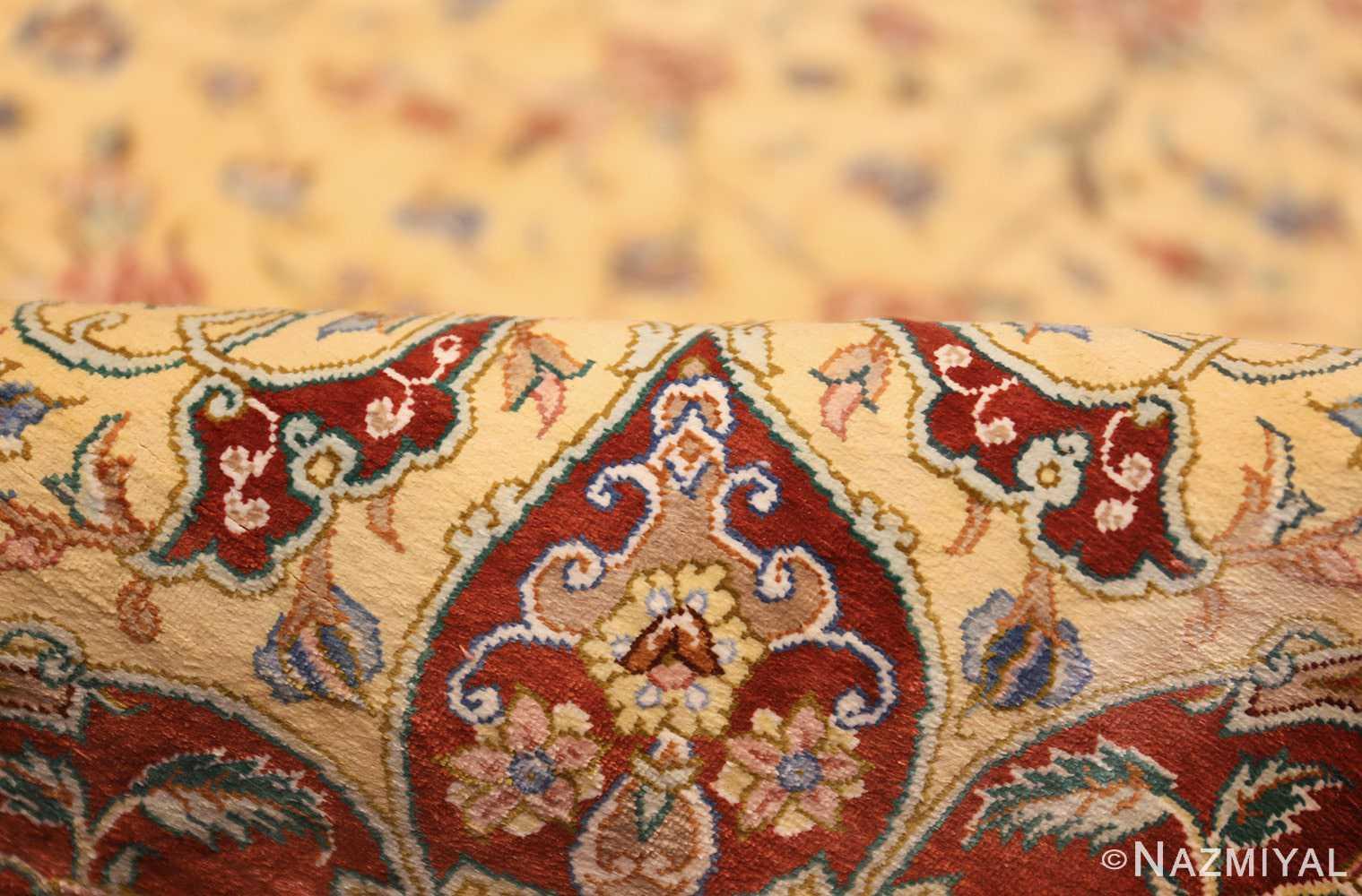modern yellow background silk qum persian rug 49398 pile Nazmiyal