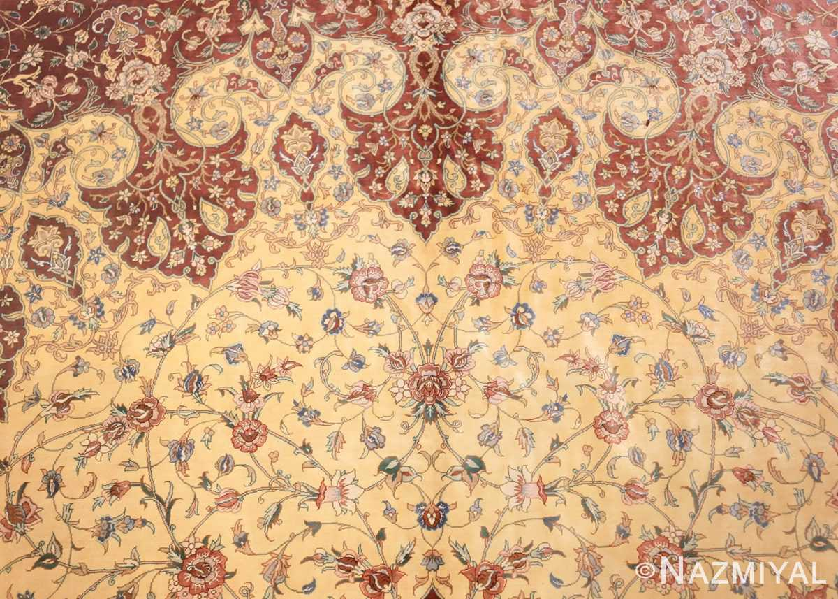 modern yellow background silk qum persian rug 49398 top Nazmiyal