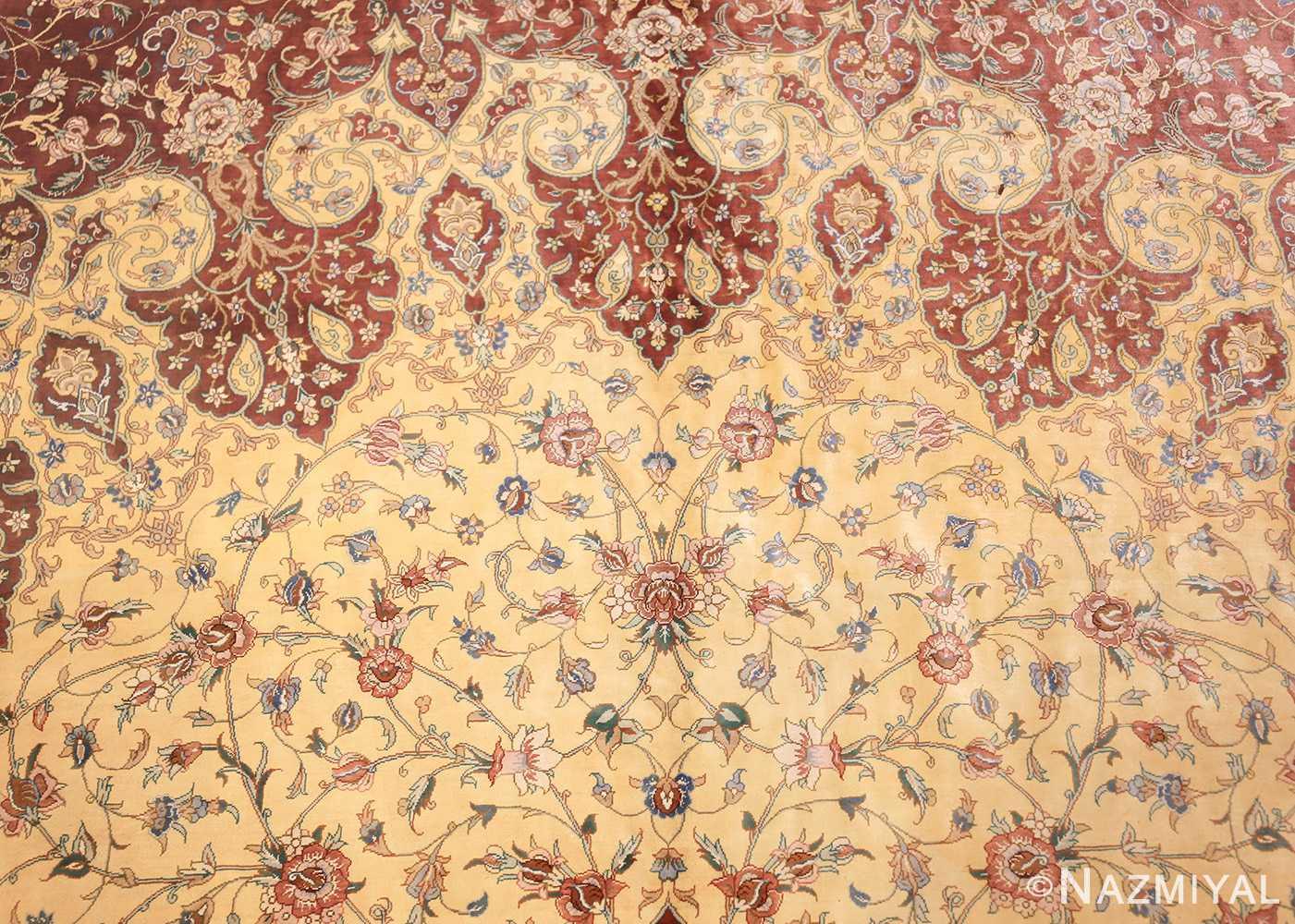 modern yellow background silk qum persian rug 49398 top Nazmiyal