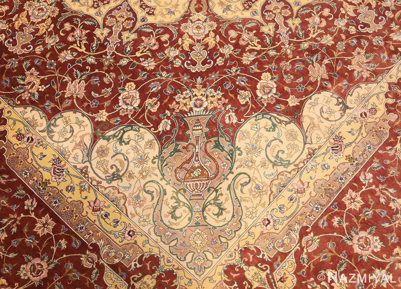 modern yellow background silk qum persian rug 49398 vase Nazmiyal
