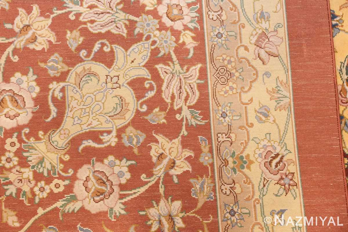 modern yellow background silk qum persian rug 49398 weave Nazmiyal
