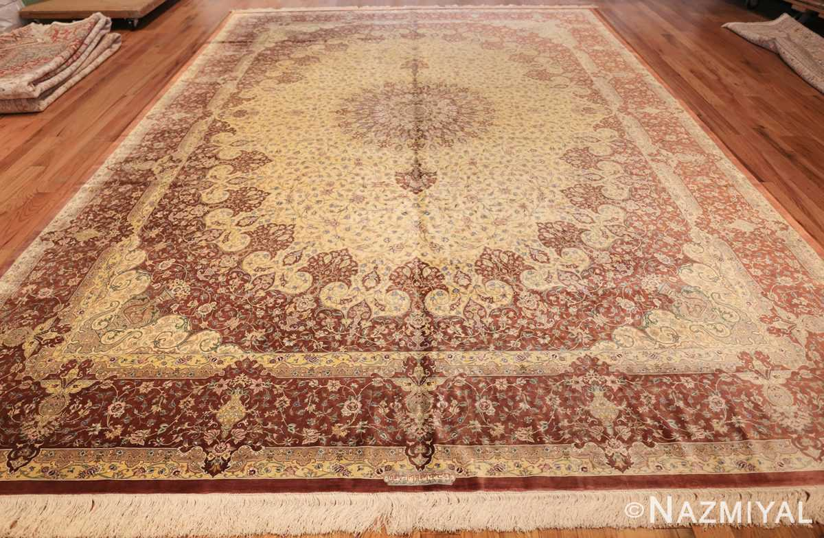 modern yellow background silk qum persian rug 49398 whole Nazmiyal