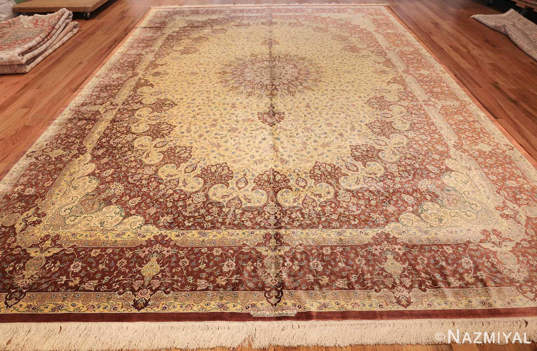 modern yellow background silk qum persian rug 49398 whole Nazmiyal