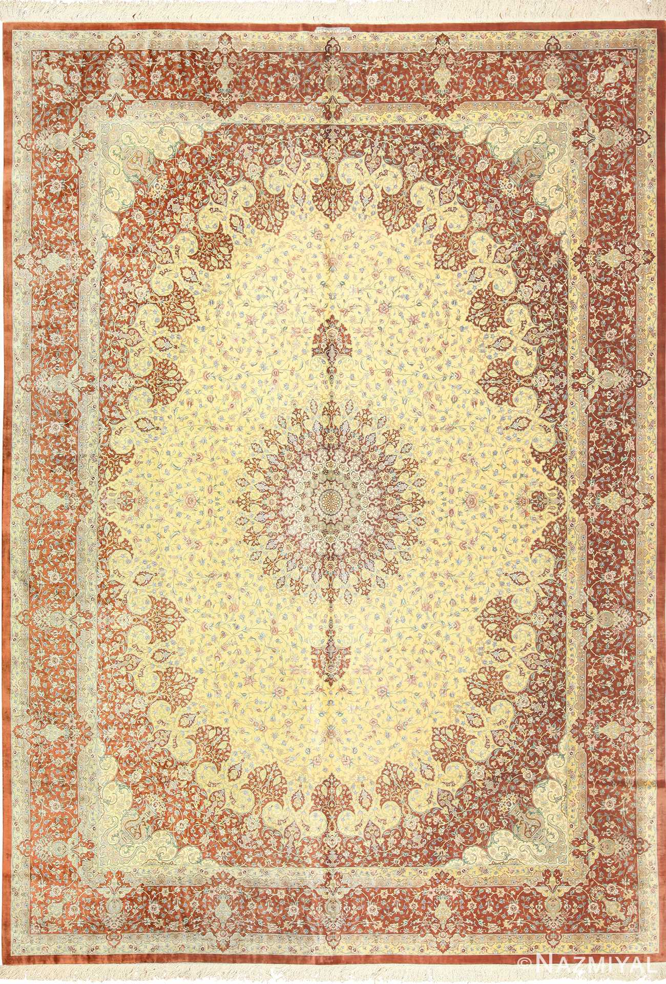 Modern Yellow Background Silk Qum Persian Rug 49398 Nazmiyal