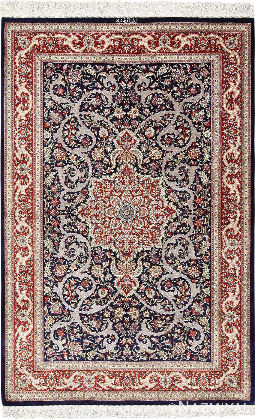 navy background silk modern qum persian rug 49414 Nazmiyal