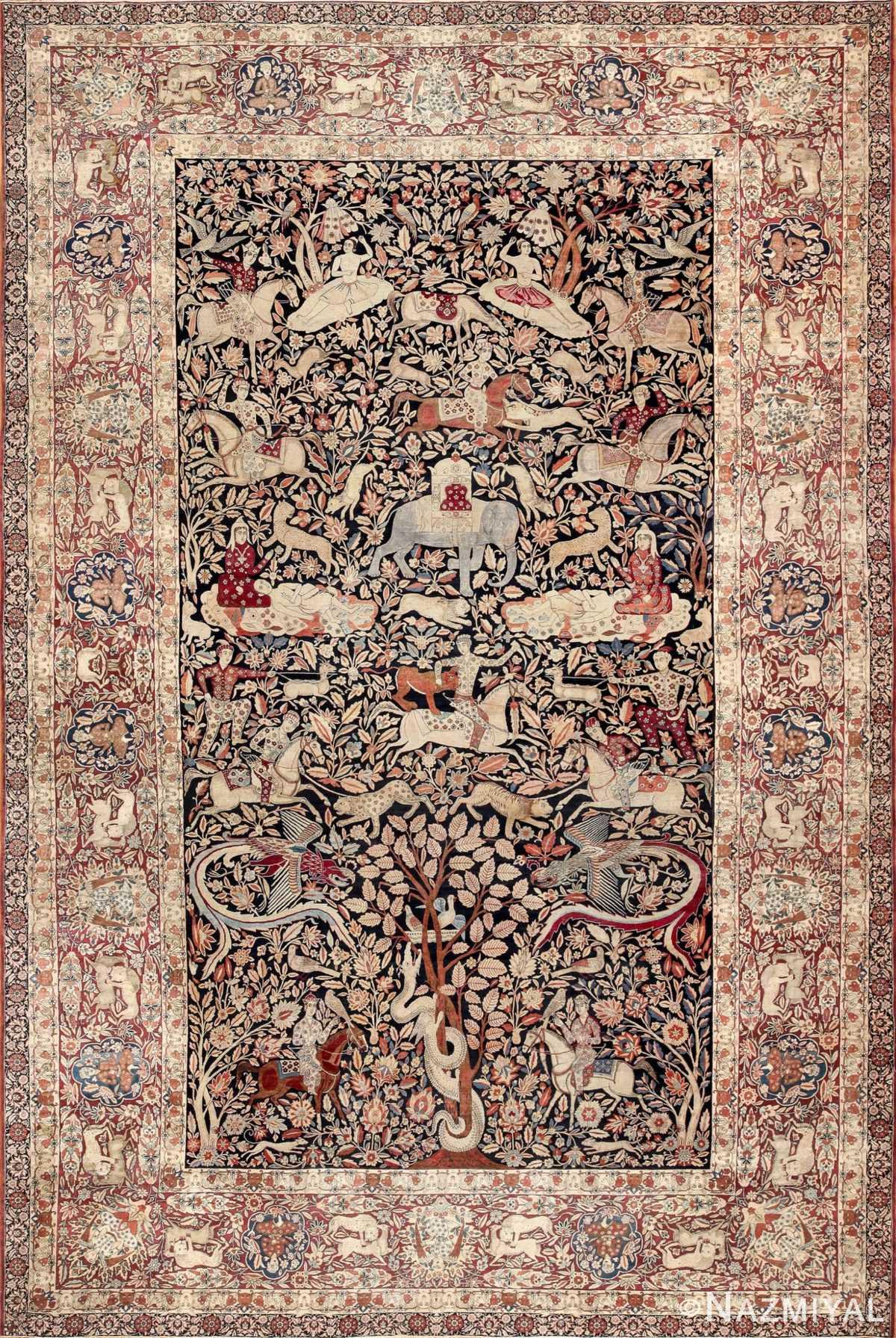 Antique Persian Hunting Scene Kerman Rug by Nazmiyal