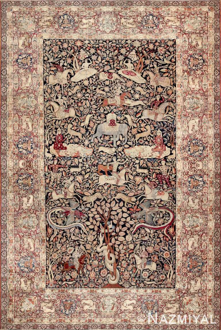 Antique Persian Hunting Scene Kerman Rug by Nazmiyal