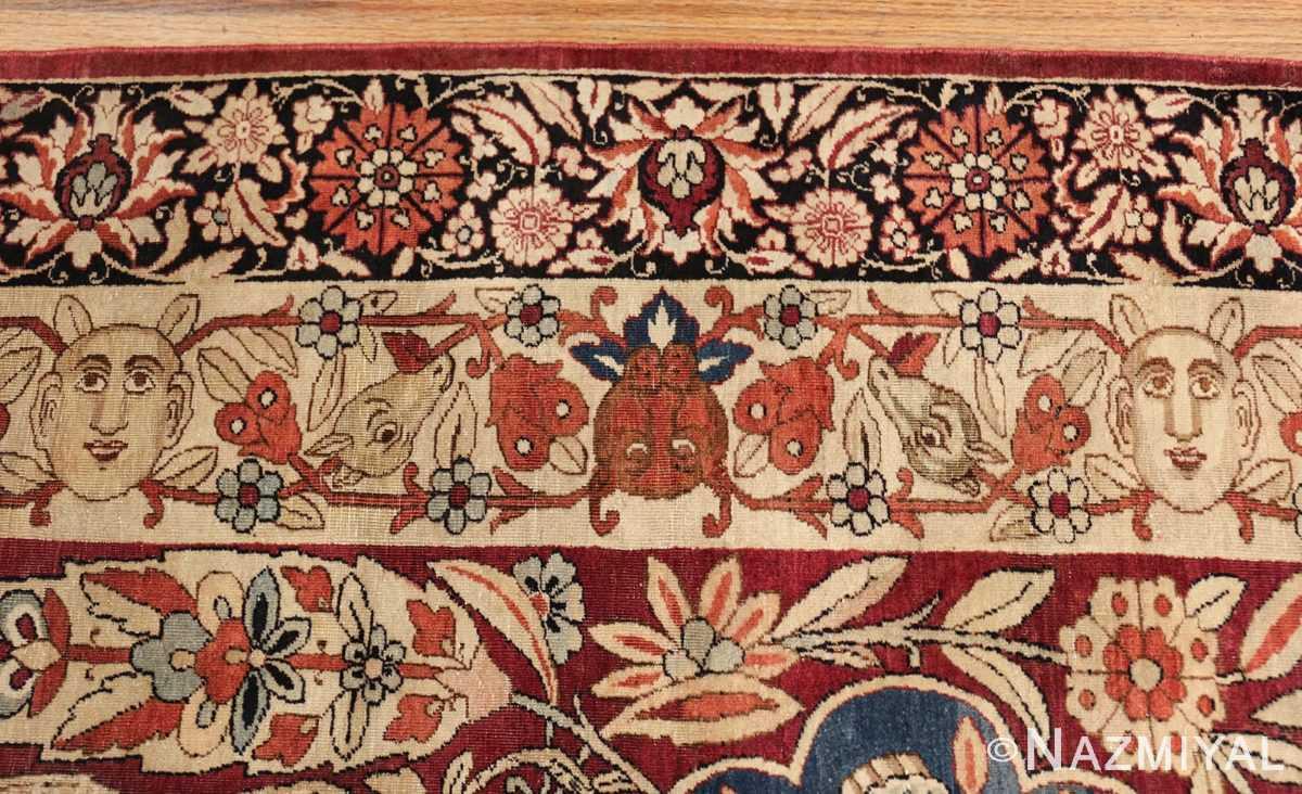 oversized antique hunting scene kerman persian rug 48796 border Nazmiyal