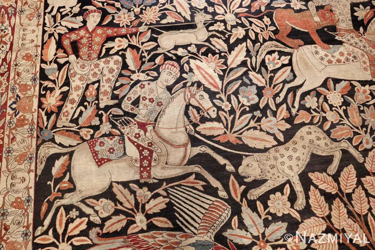 oversized antique hunting scene kerman persian rug 48796 bow Nazmiyal