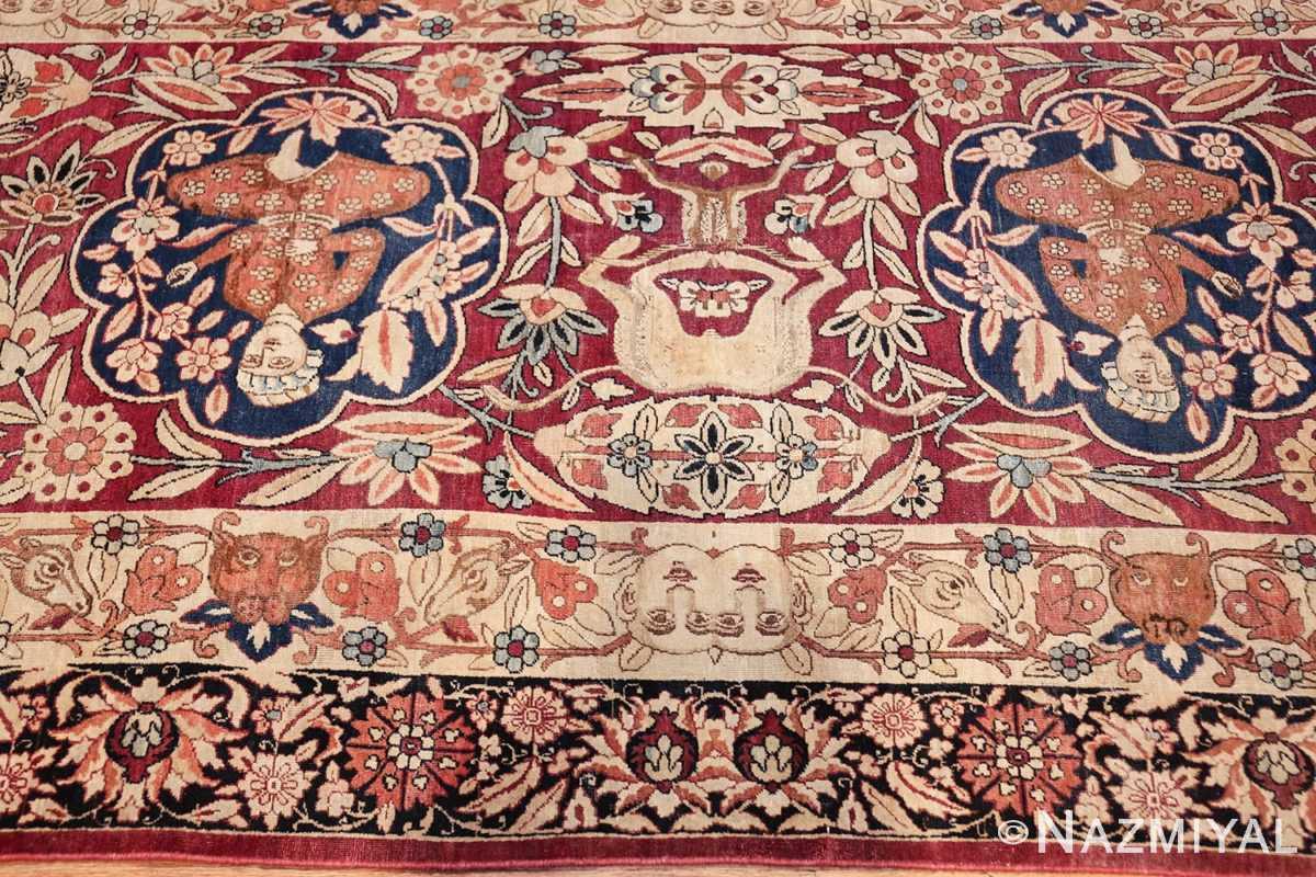 oversized antique hunting scene kerman persian rug 48796 closeup Nazmiyal