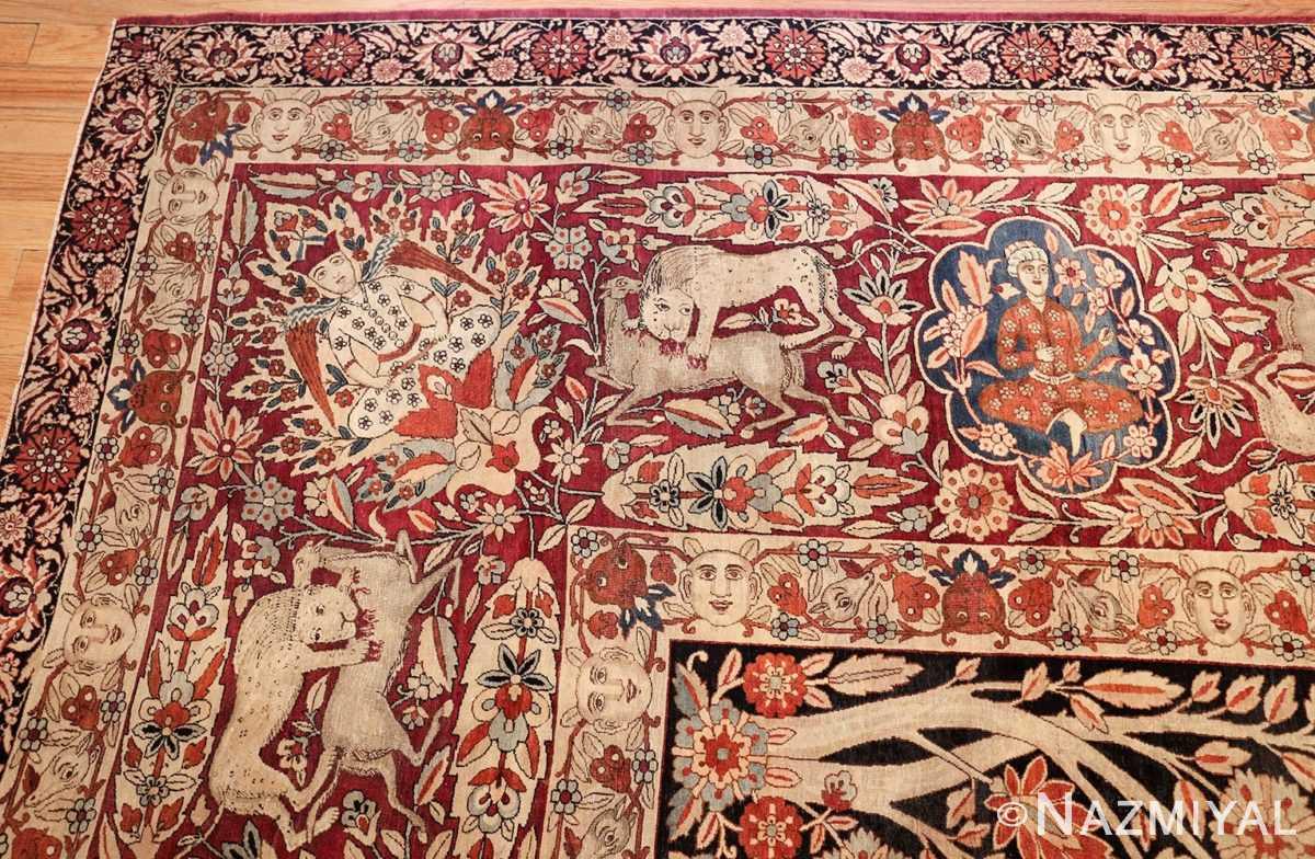 oversized antique hunting scene kerman persian rug 48796 corner Nazmiyal