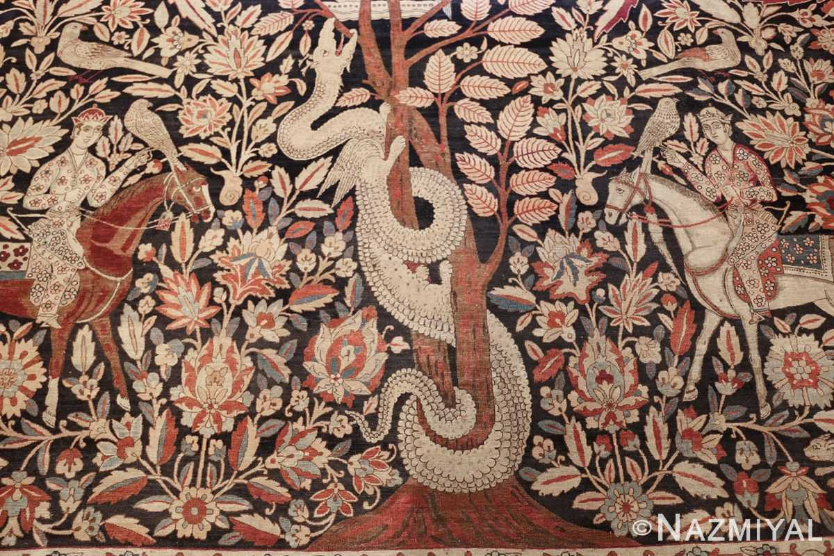 oversized antique hunting scene kerman persian rug 48796 dragon Nazmiyal