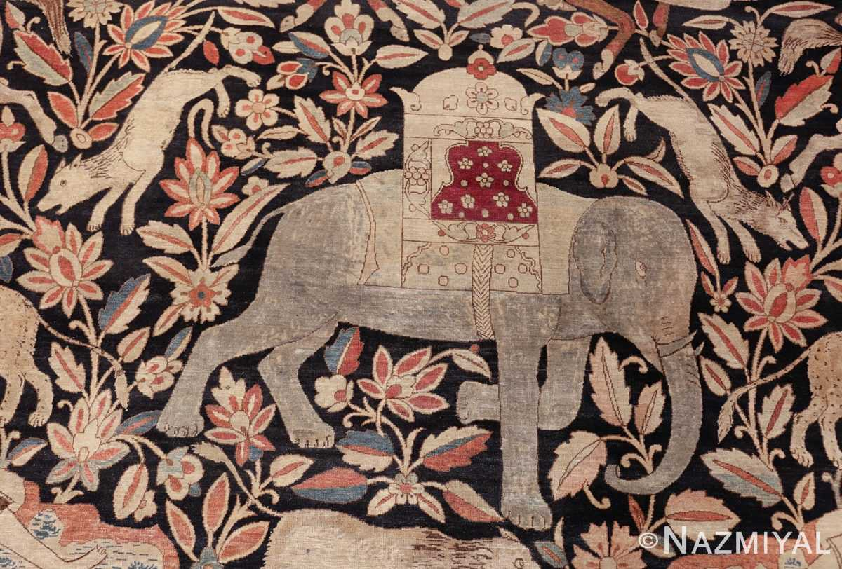 oversized antique hunting scene kerman persian rug 48796 elephant Nazmiyal
