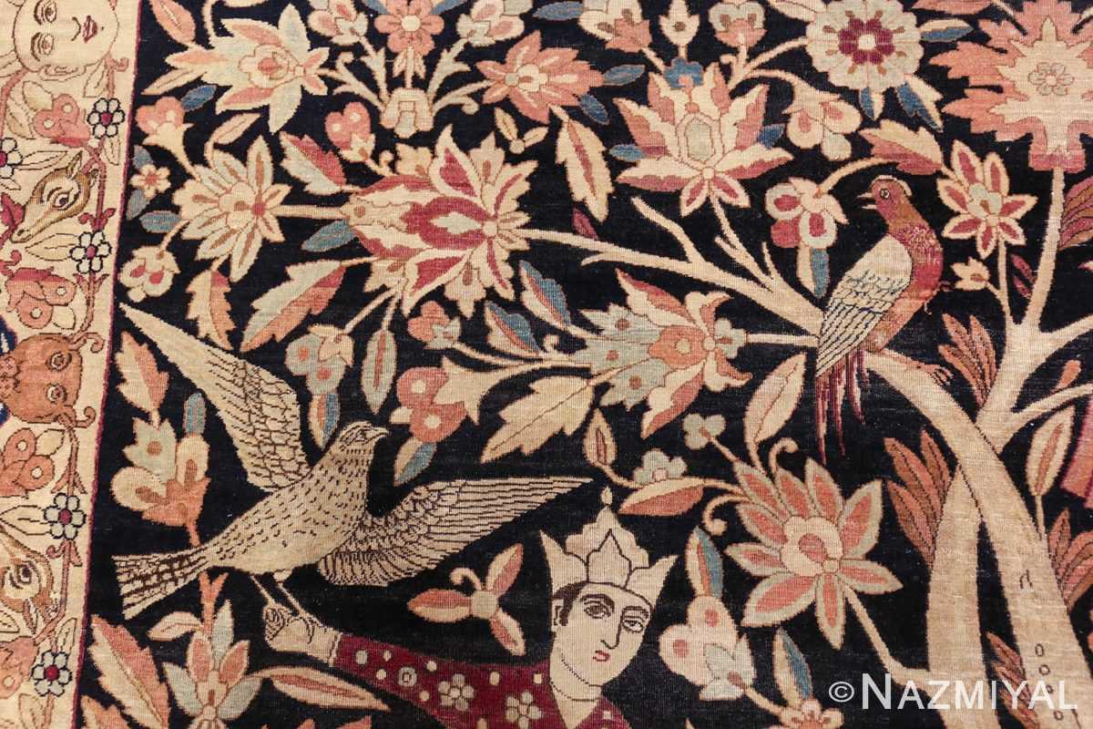 oversized antique hunting scene kerman persian rug 48796 falcon Nazmiyal