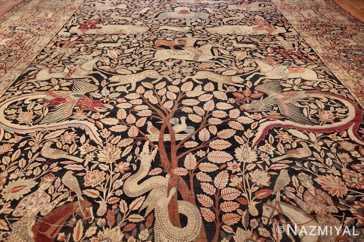 oversized antique hunting scene kerman persian rug 48796 field Nazmiyal