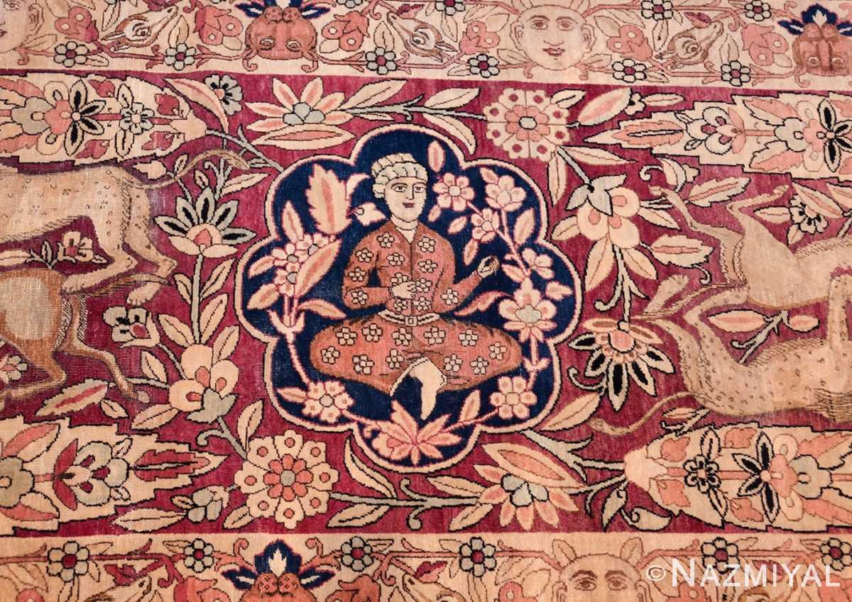 oversized antique hunting scene kerman persian rug 48796 fight Nazmiyal