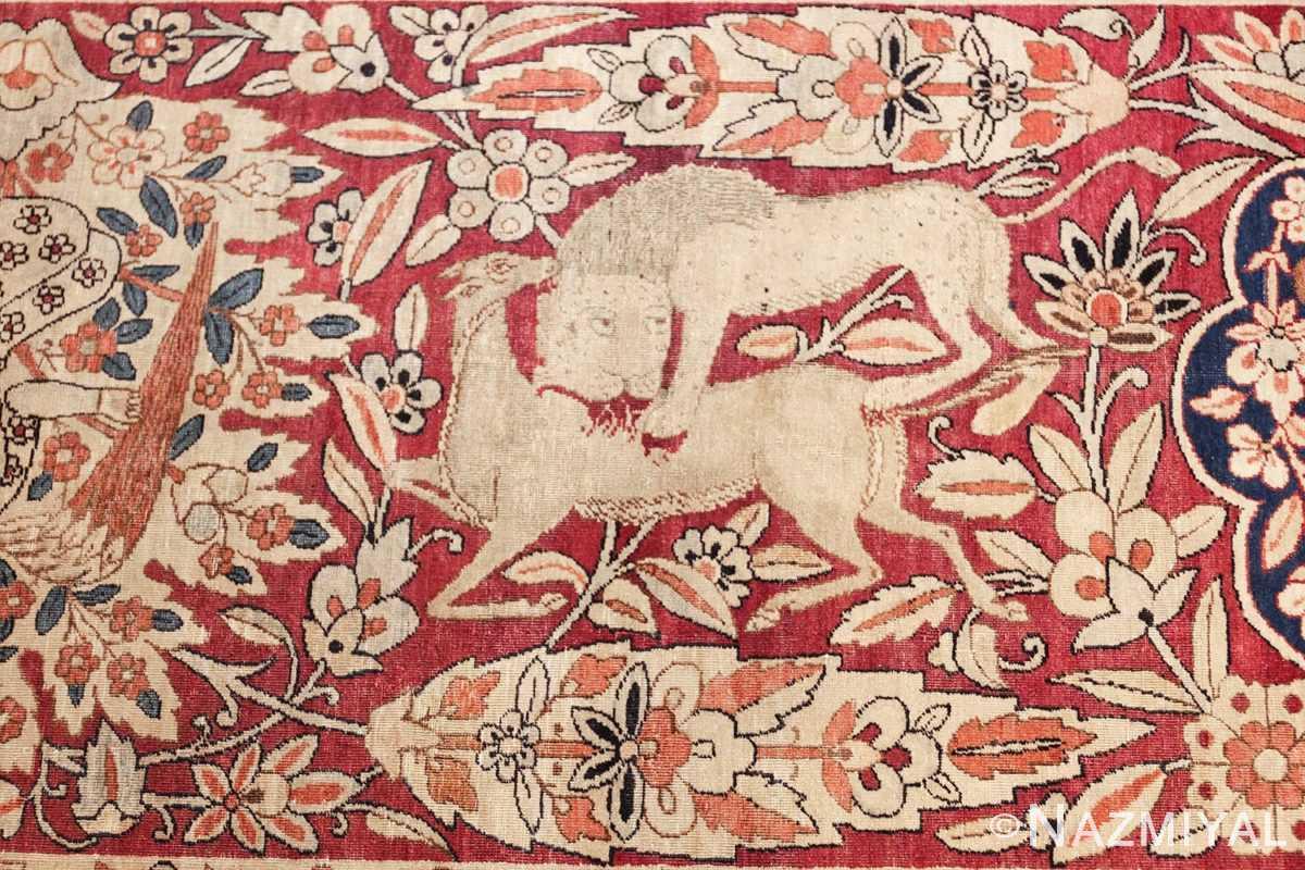 oversized antique hunting scene kerman persian rug 48796 horse Nazmiyal