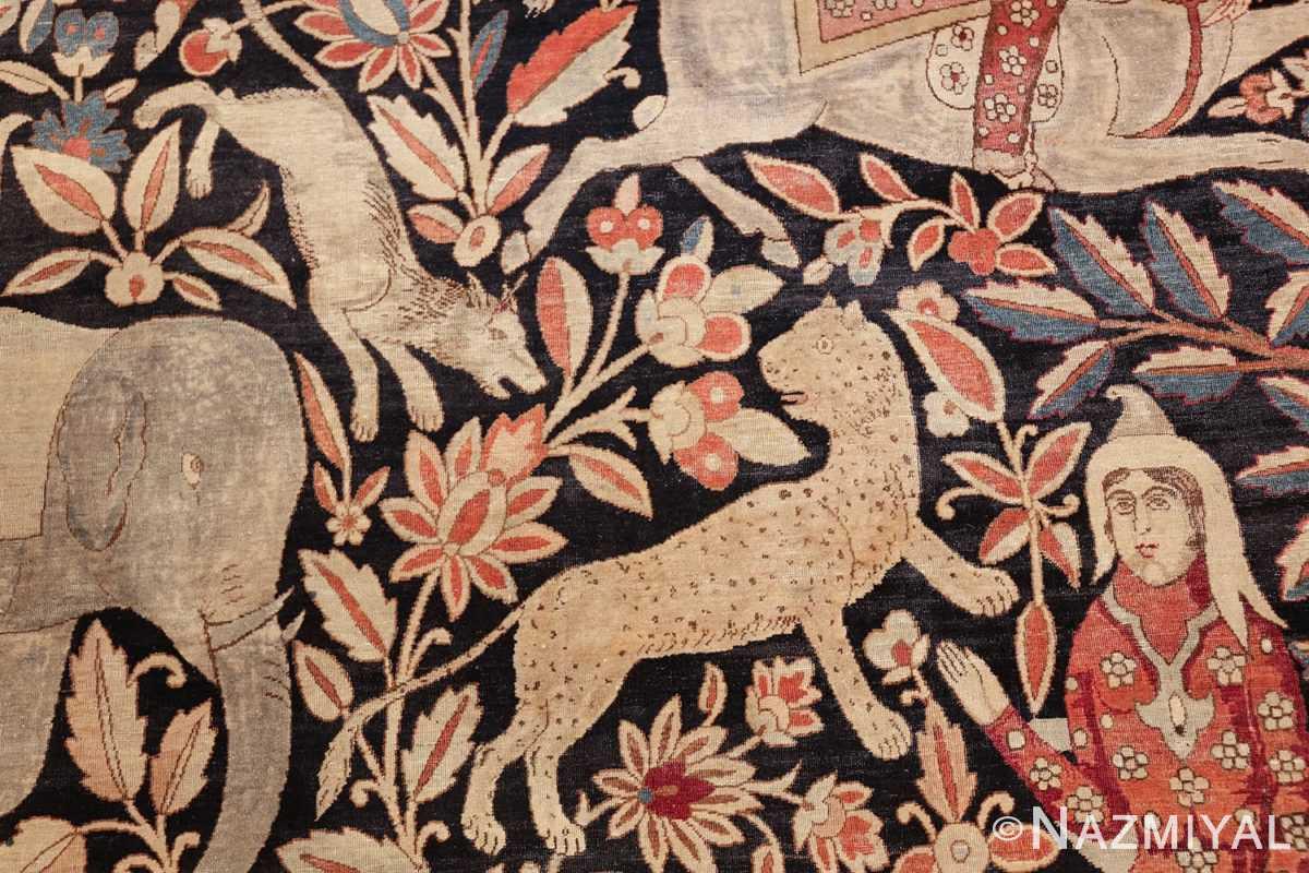 oversized antique hunting scene kerman persian rug 48796 leopard Nazmiyal