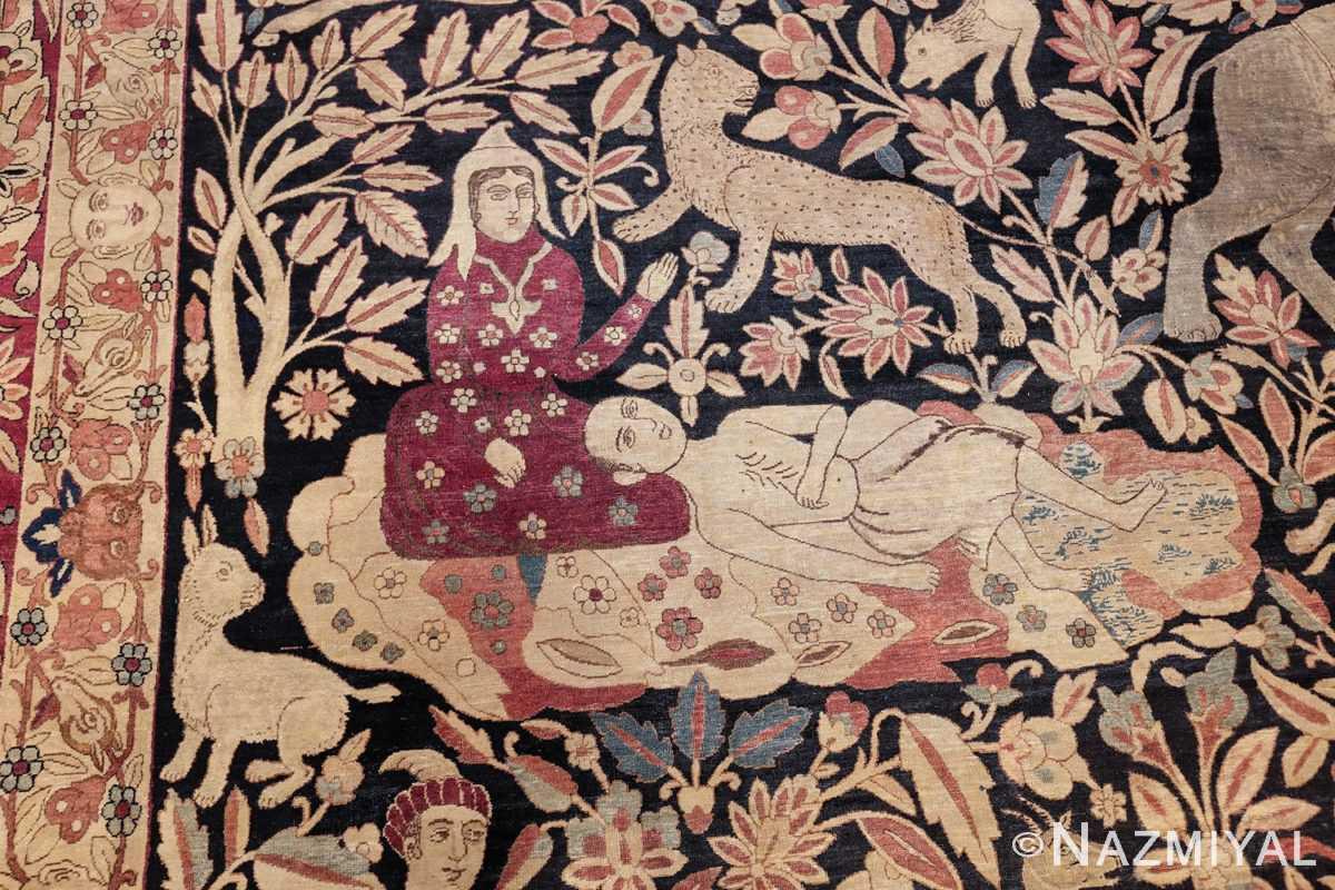 oversized antique hunting scene kerman persian rug 48796 majnun Nazmiyal