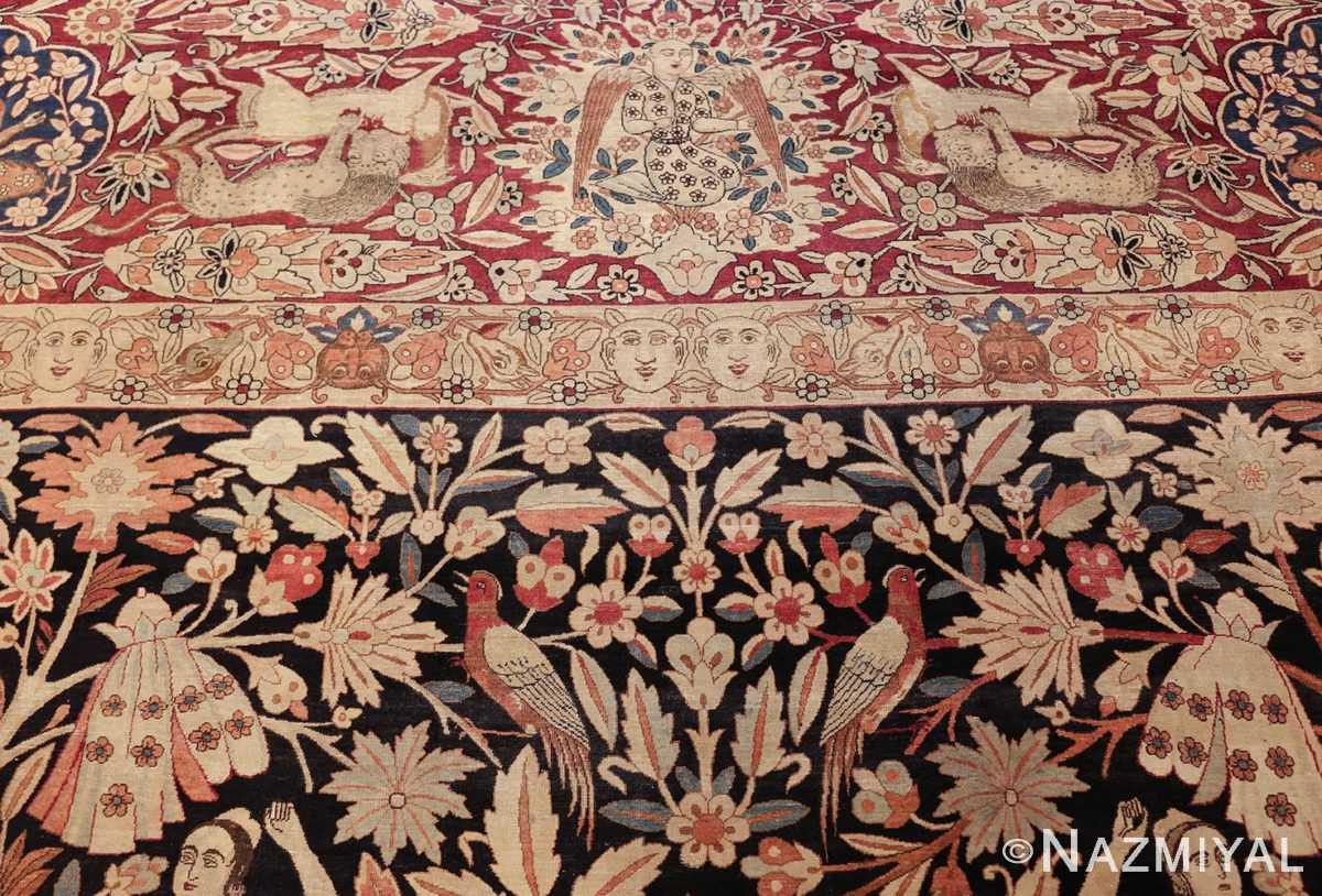 oversized antique hunting scene kerman persian rug 48796 part Nazmiyal