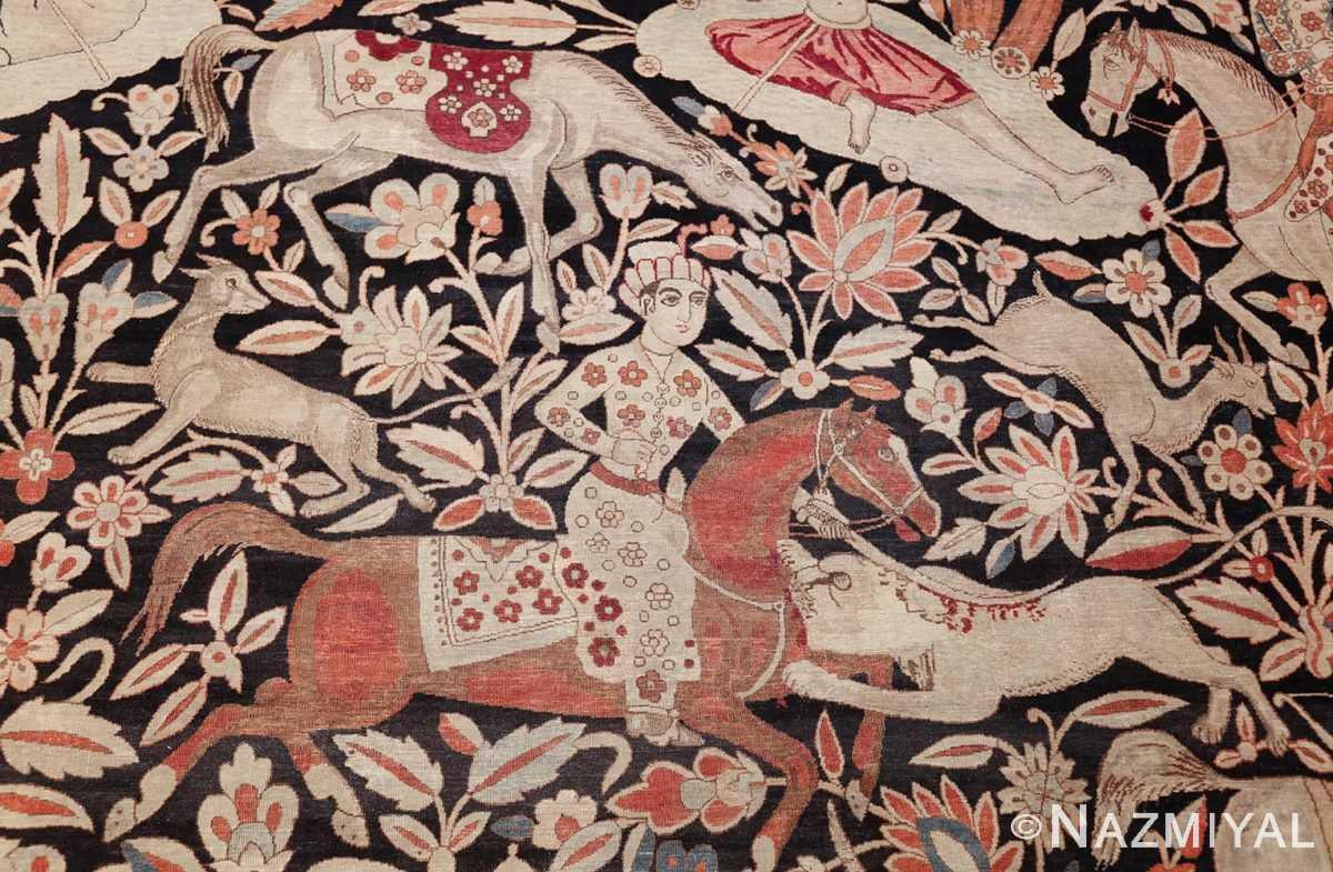 oversized antique hunting scene kerman persian rug 48796 red horse Nazmiyal