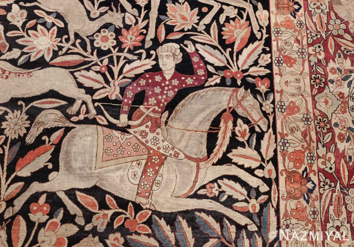 oversized antique hunting scene kerman persian rug 48796 rider Nazmiyal