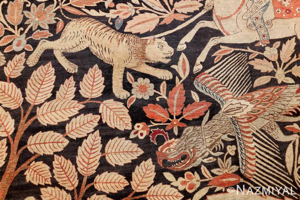 oversized antique hunting scene kerman persian rug 48796 tiger Nazmiyal