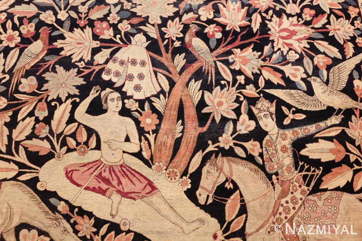 oversized antique hunting scene kerman persian rug 48796 tree Nazmiyal