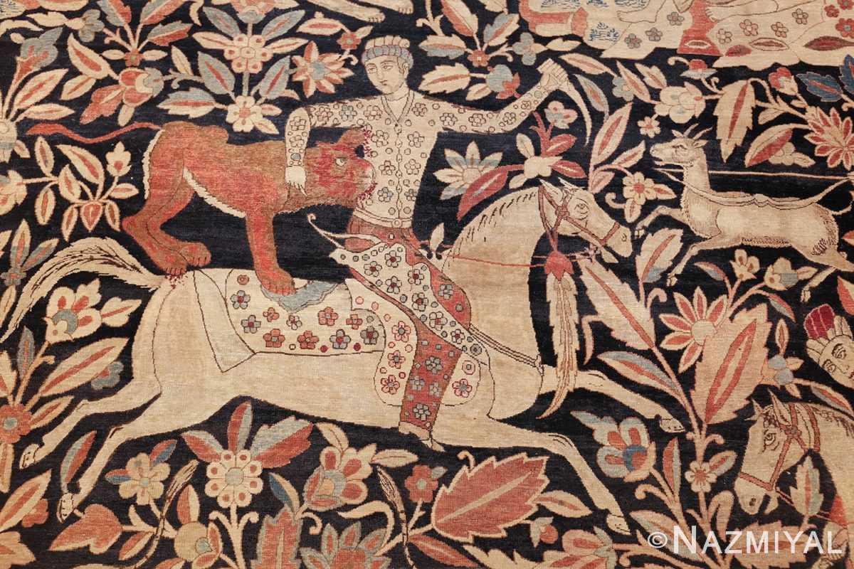 oversized antique hunting scene kerman persian rug 48796 wolf Nazmiyal