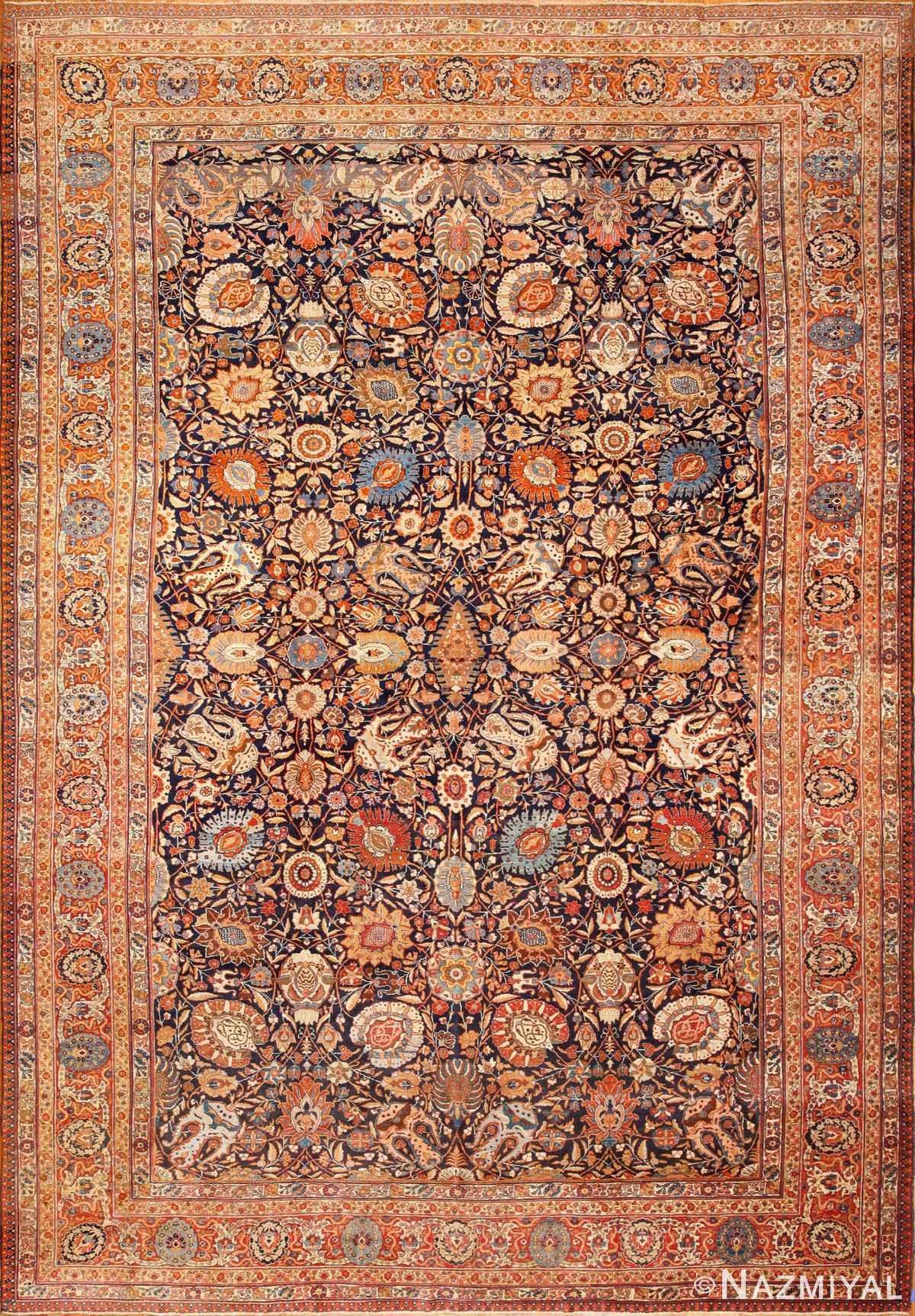 oversized navy background tabriz persian rug 49375 Nazmiyal