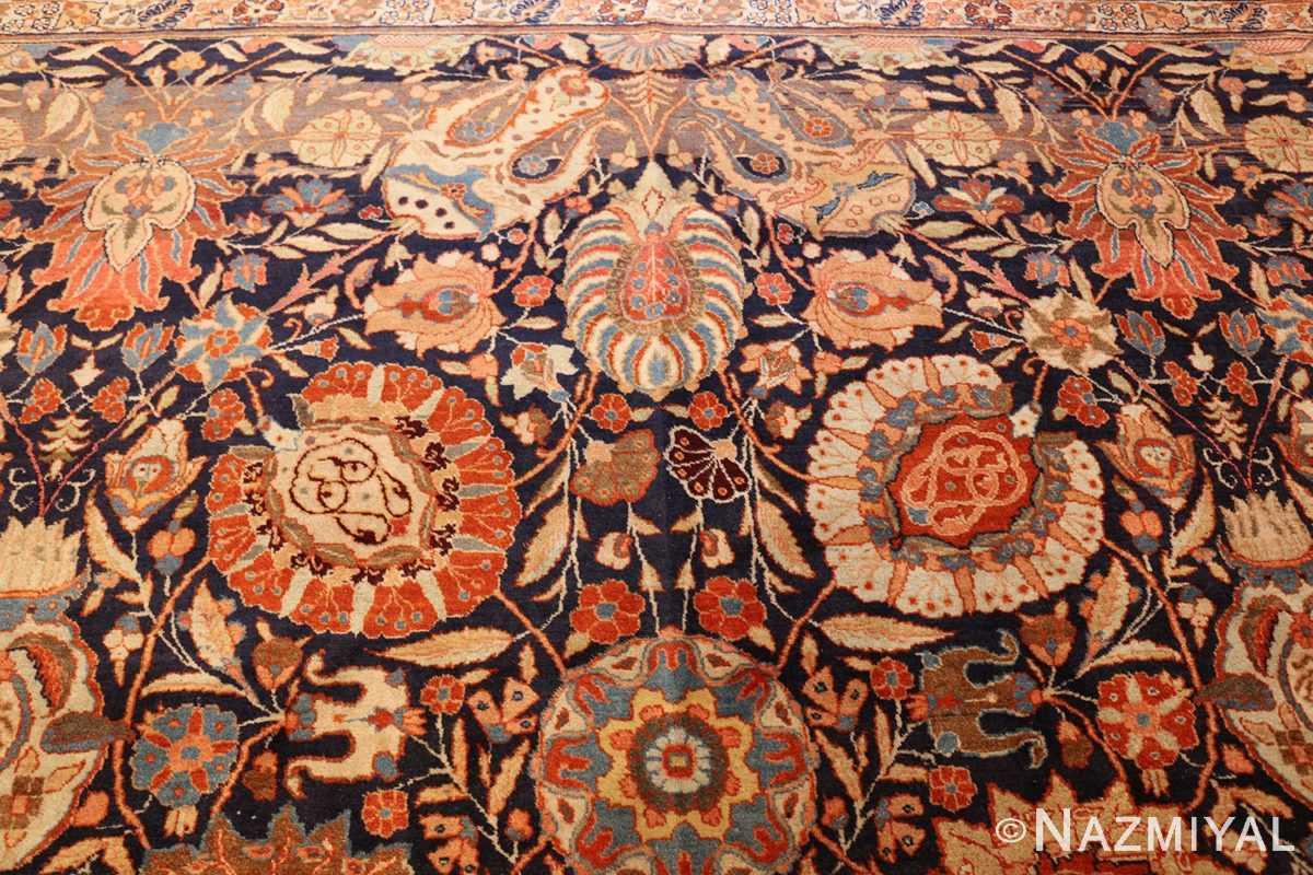 oversized navy background tabriz persian rug 49375 flowers Nazmiyal