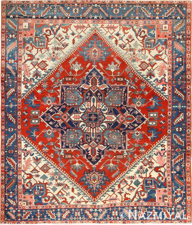 red background antique serapi persian rug 49396 Nazmiyal