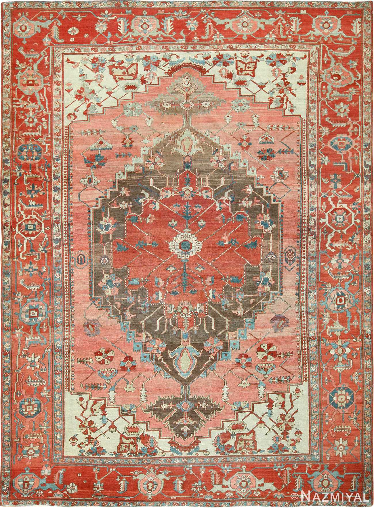 Room Size Antique Oriental Persian Serapi Rug 49391 By Nazmiyal