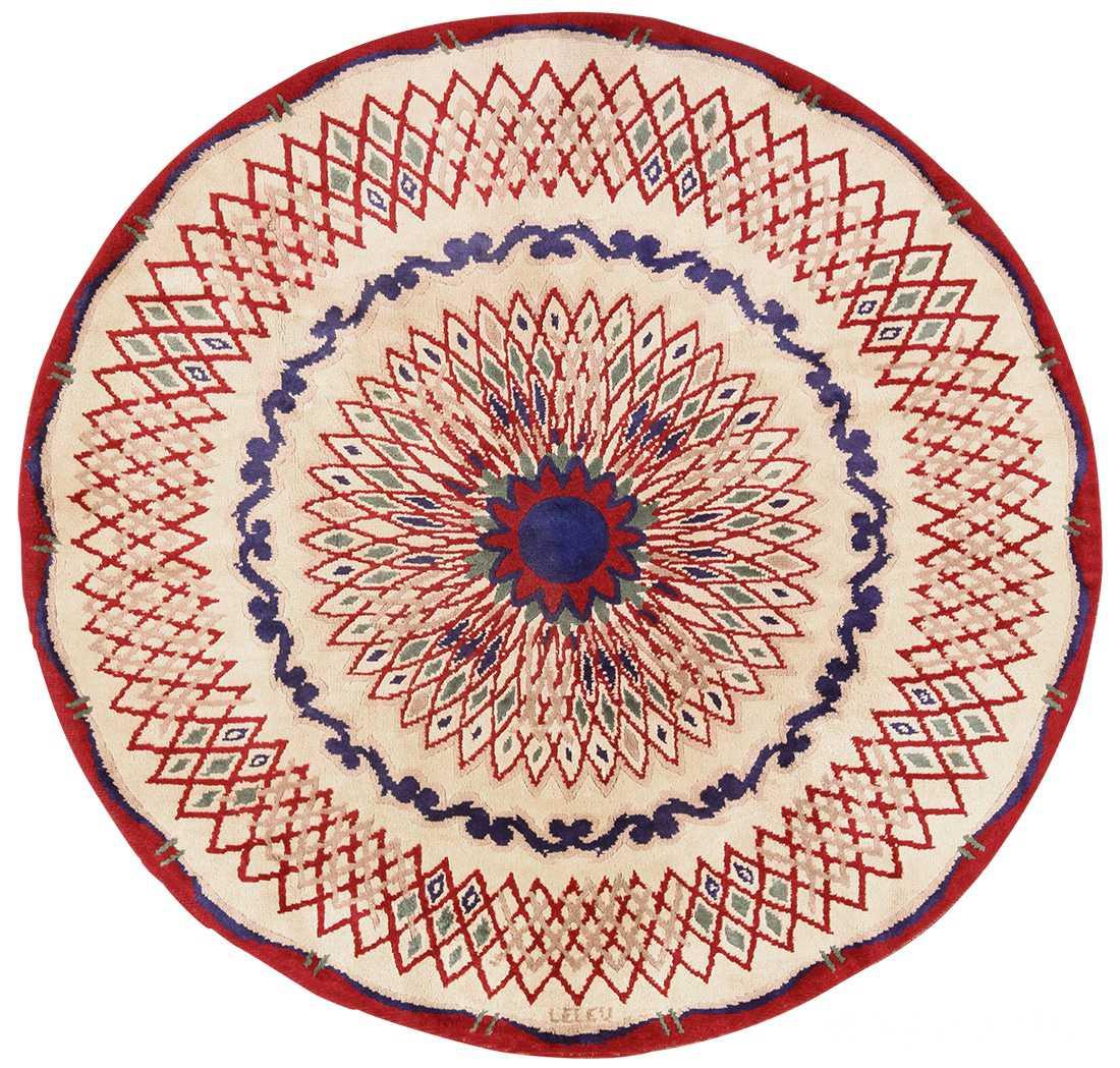 round antique art deco french rug by leleu 49382 Nazmiyal