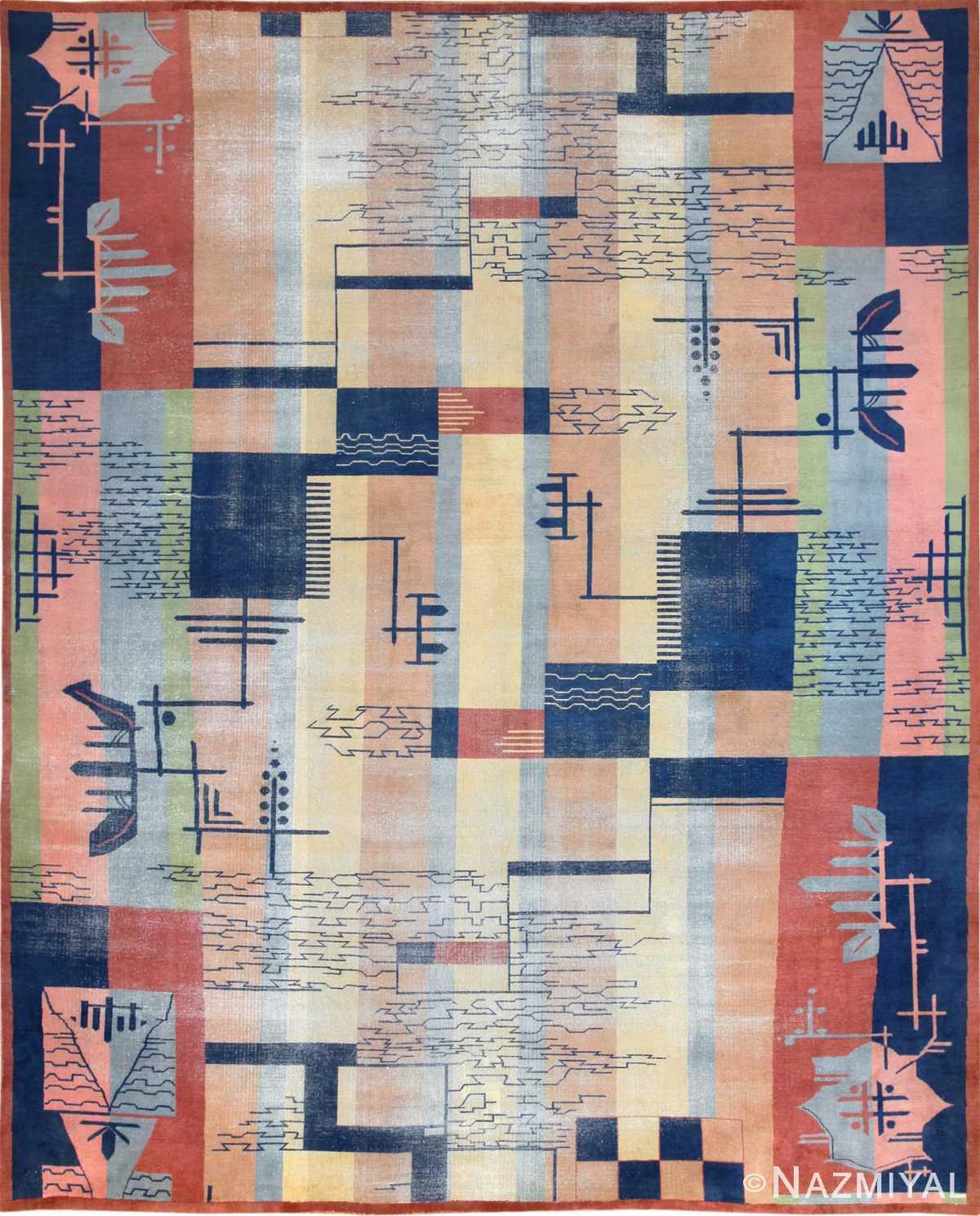 shabby chic antique art deco indian rug 49386 Nazmiyal