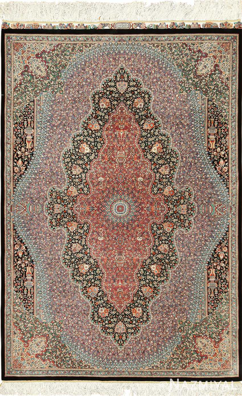 Silk Black Background Modern Qum Persian Rug 49422 Nazmiyal