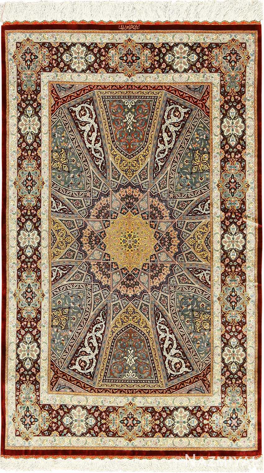silk geometric design modern qum persian rug 49421 Nazmiyal