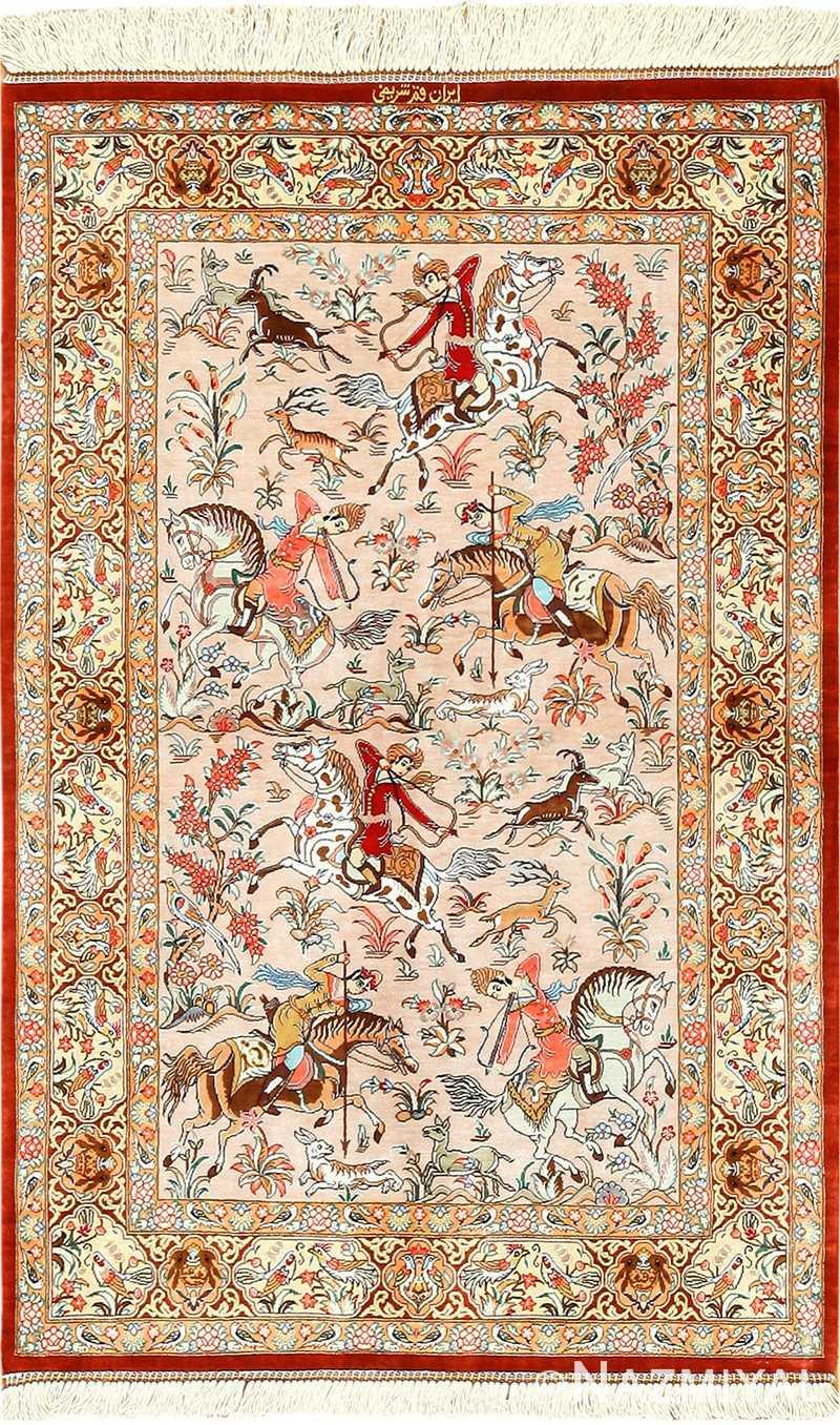 Silk Persian Qum Rug 49411 By Nazmiyal Rugs