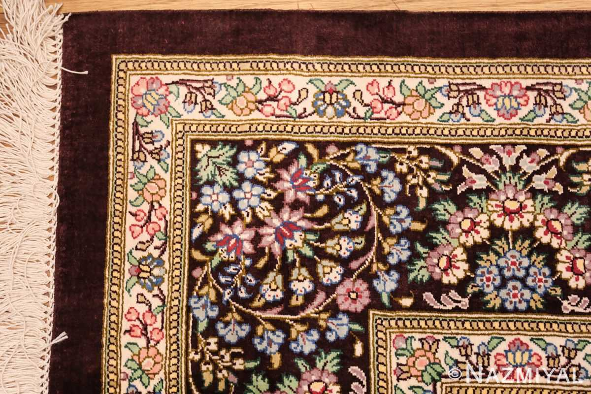 small brown silk modern persian qum rug 49416 corner Nazmiyal