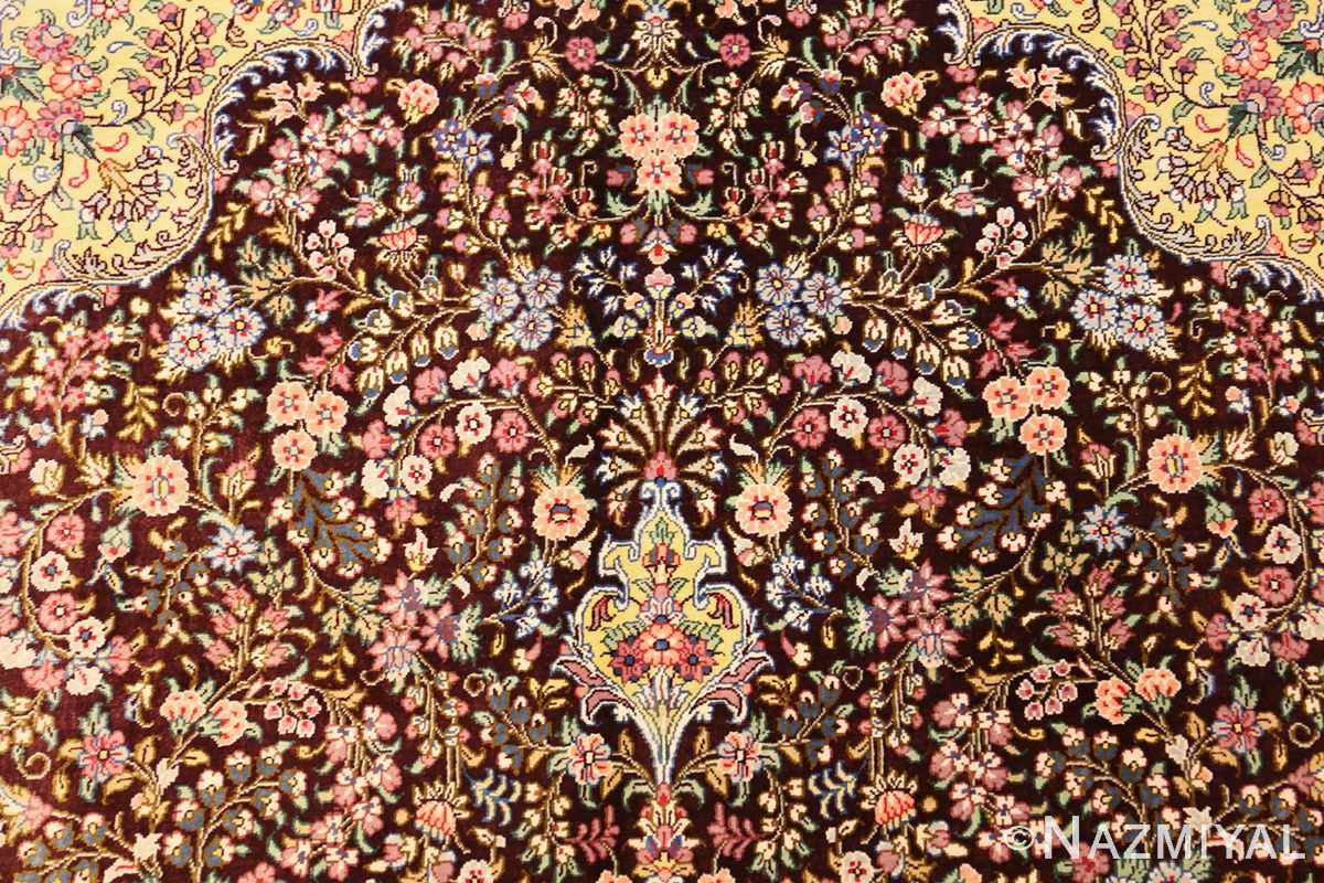 small brown silk modern persian qum rug 49416 top Nazmiyal