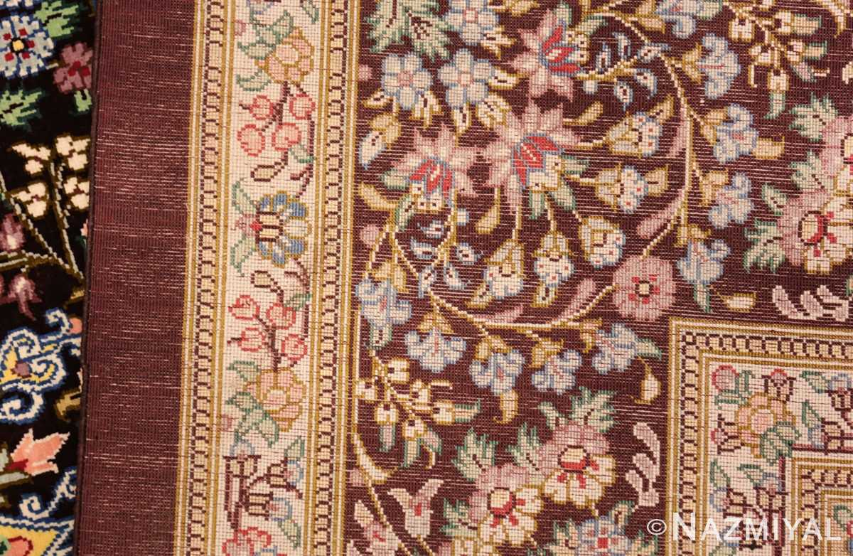 small brown silk modern persian qum rug 49416 weave Nazmiyal